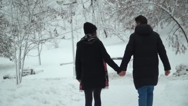 Mladý muž a žena procházky v zimním parku pokryté sněhem drží za ruce, video