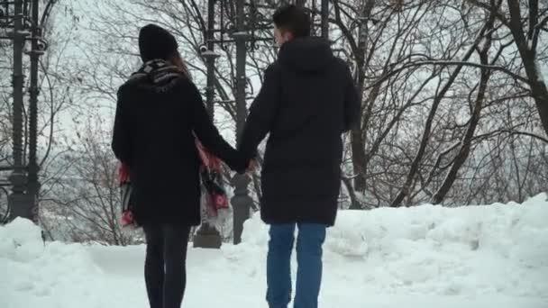 Mladý muž a žena v zimních kabátech procházky v zimním parku pokryté sněhem drží za ruce, video