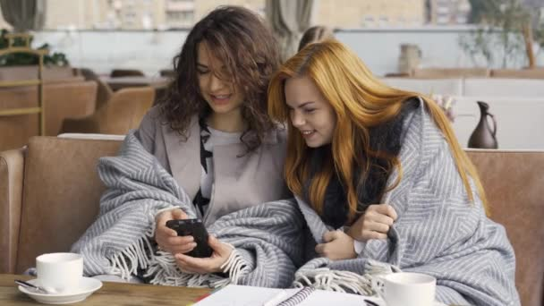 Two Caucasian girlfriends covered with grey blankets sitting in the cafe discussing photos on cellphone. Young women relaxing together indoors. Autumn leisure. Friendly meeting