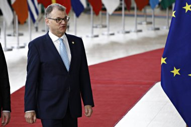 Brussels, Belgium. 28th May 2019.Prime Minister of Finland, Juha Sipila  arrives for a European Union (EU) summit at EU Headquarters.