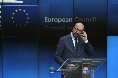 Belgium's Prime Minister Charles Michel gives a press conference after the EU leaders struck a deal on the bloc's top jobs during the third day of a EU summit, in Brussels on July 2, 2019.