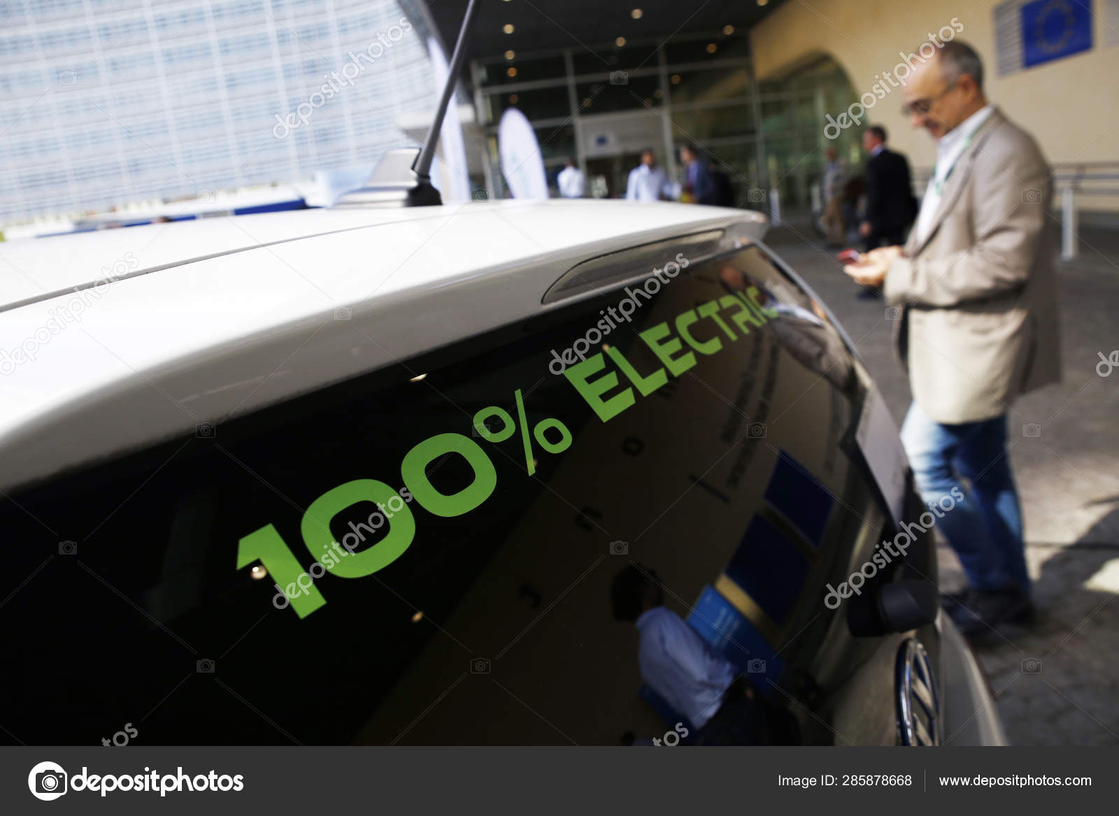Electric Car Seen Front Commission Offices Campaign European Mobility Week Stock Editorial Photo C Ale Mi 285878668