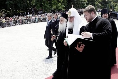 Patriarch of Moscow and All Russia Kirill takes part in a religious service  at the Holy Monastery of St. Luke in Veria, Greece on Jun. 7, 2013.