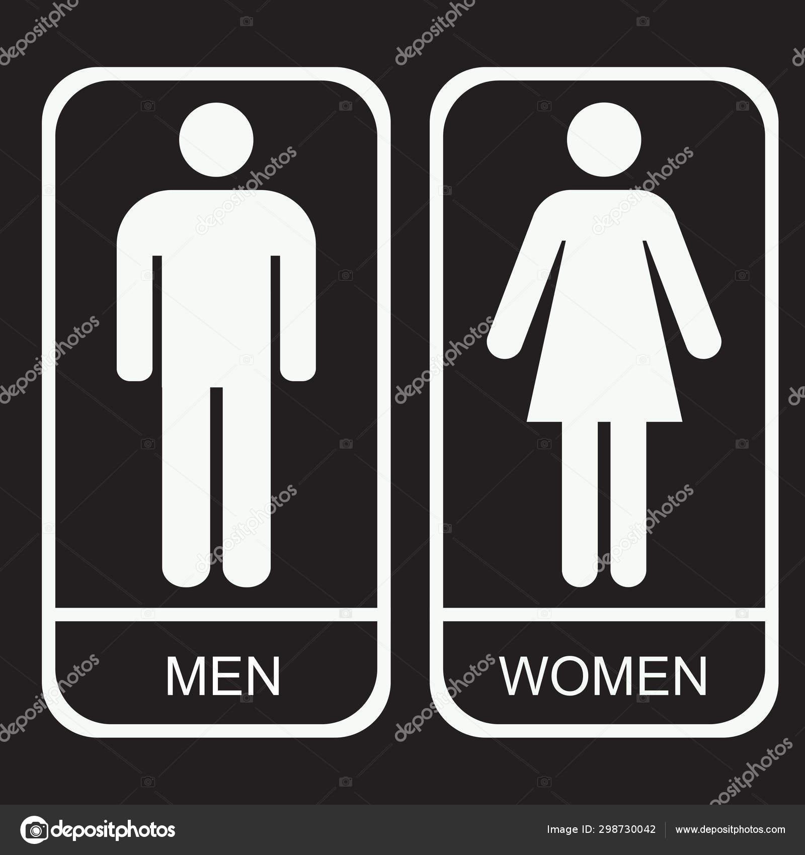 Restroom Sign Vector Icon Stock, Men And Women Bathroom Sign