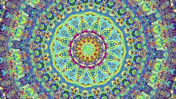 Otáčející se abstraktní magický kruh. Esoterická kosmická Mandala. Opakování záběru.