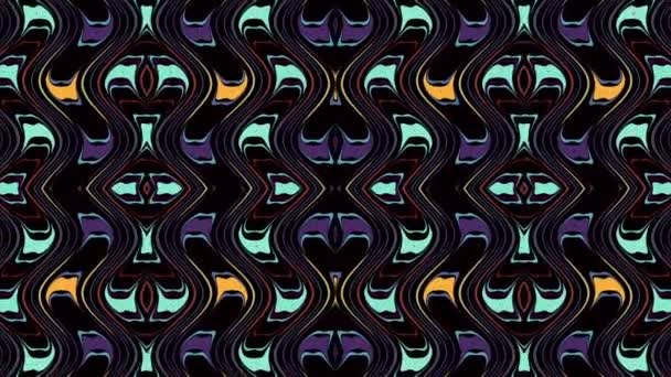 Symmetric abstract wavy ornament. Animated ethnic tribal pattern. Looping footage.