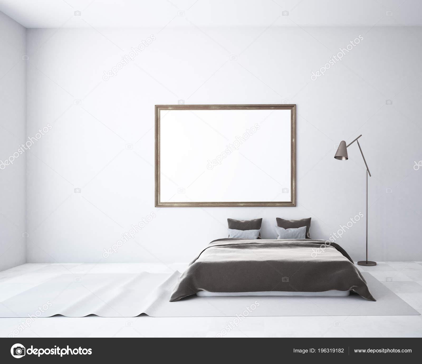 Weisse Schlafzimmer Einrichtung Mit Einer Wolldecke Auf Dem Boden Ein