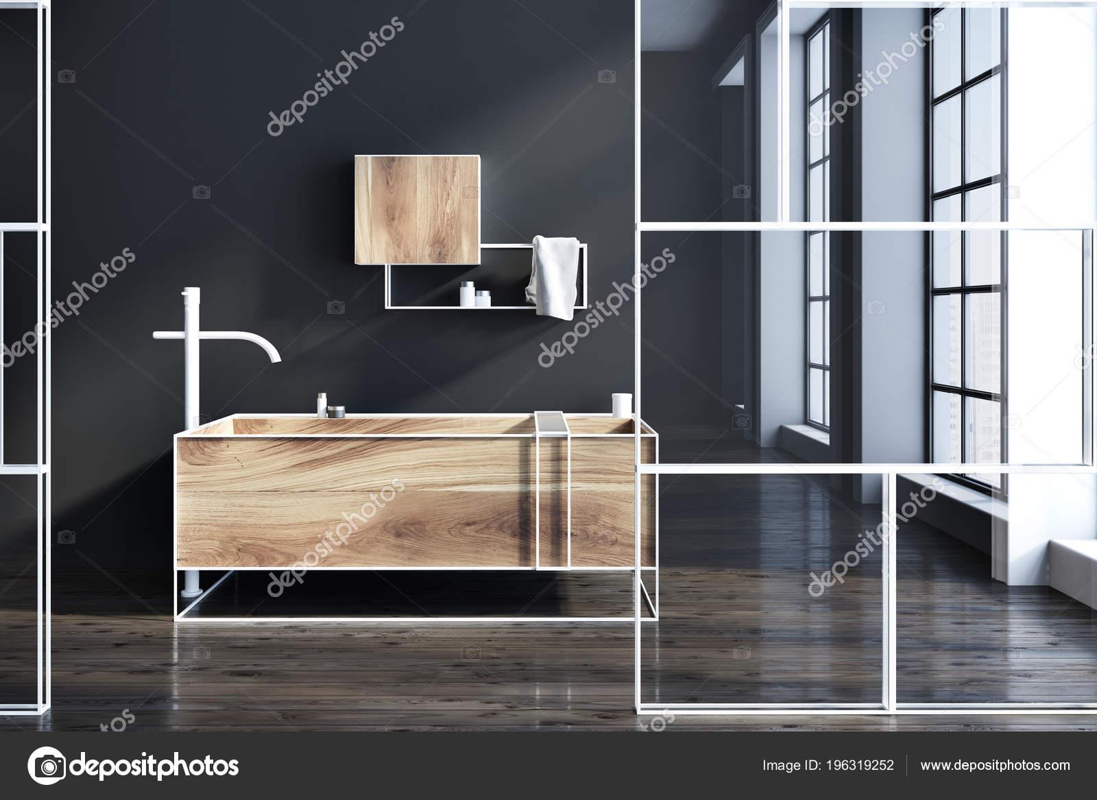 Vasca Da Bagno Con Vetro : Vista laterale interno futuristico bagno con pareti nere una vasca