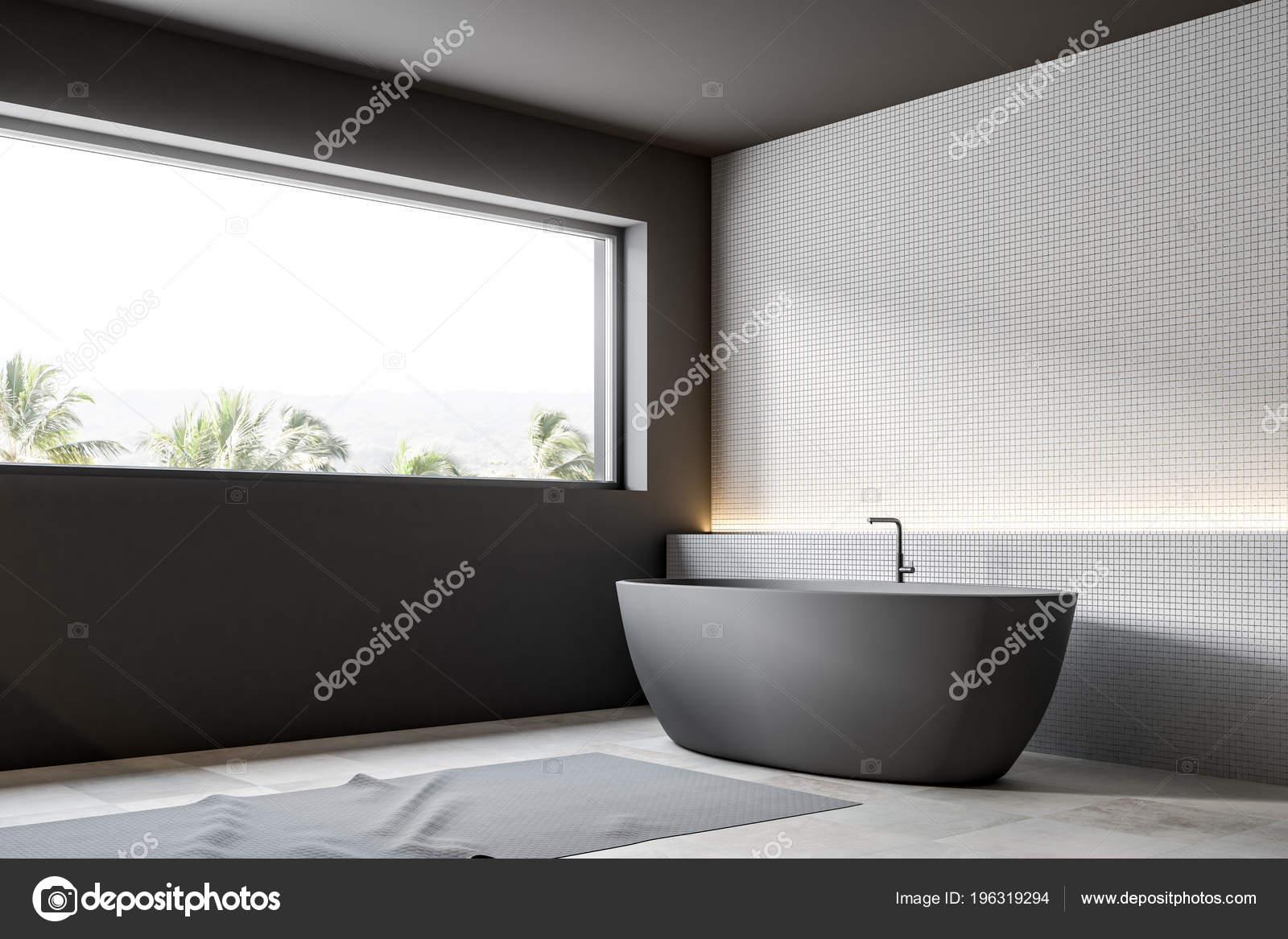 Parete Per Vasca Da Bagno Angolare : Mosaico bianco parete bagno angolare con tappeto sul pavimento una