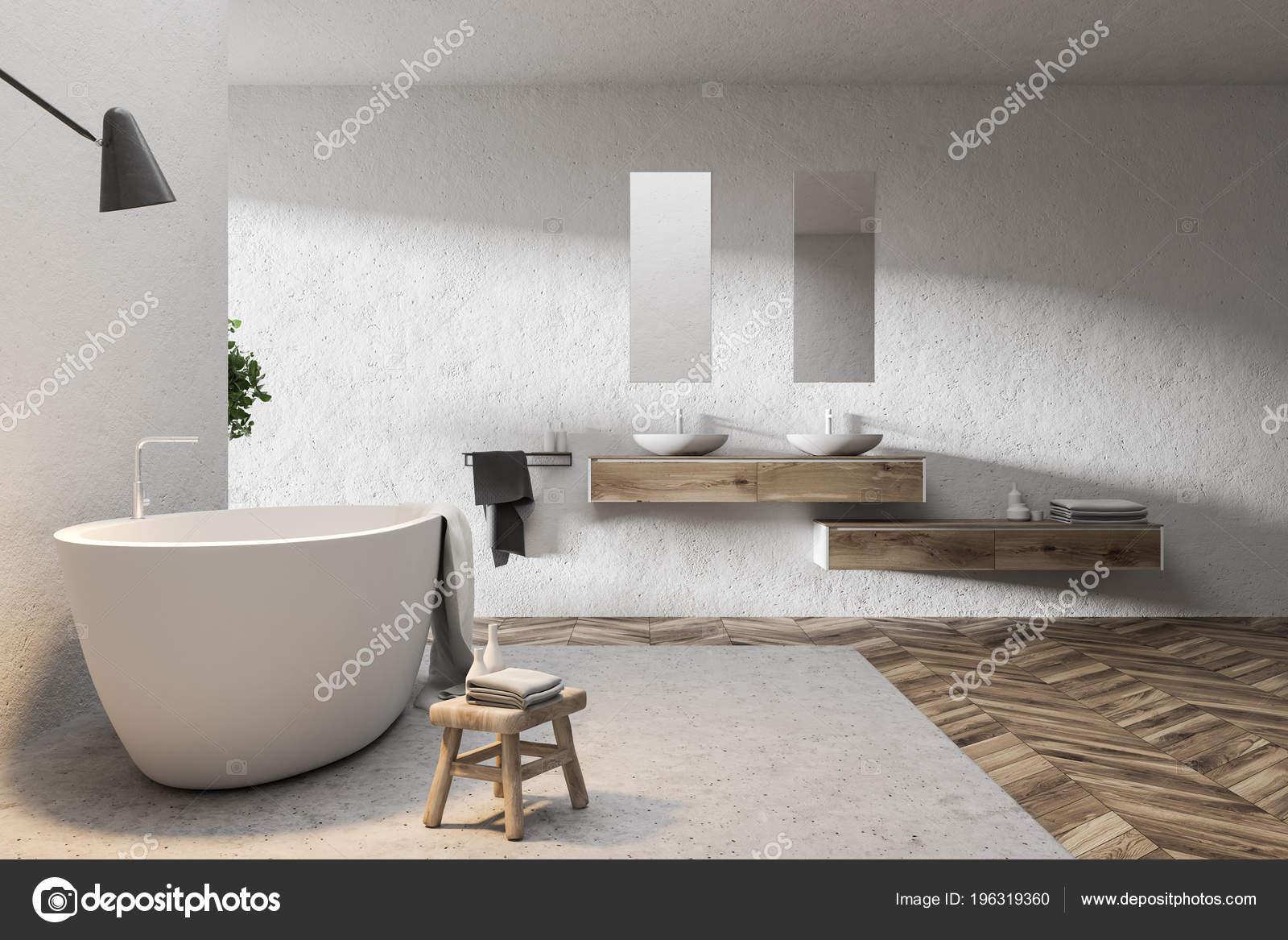 Double Évier Salle Bain Blanc Intérieur Avec Plancher Bois ...