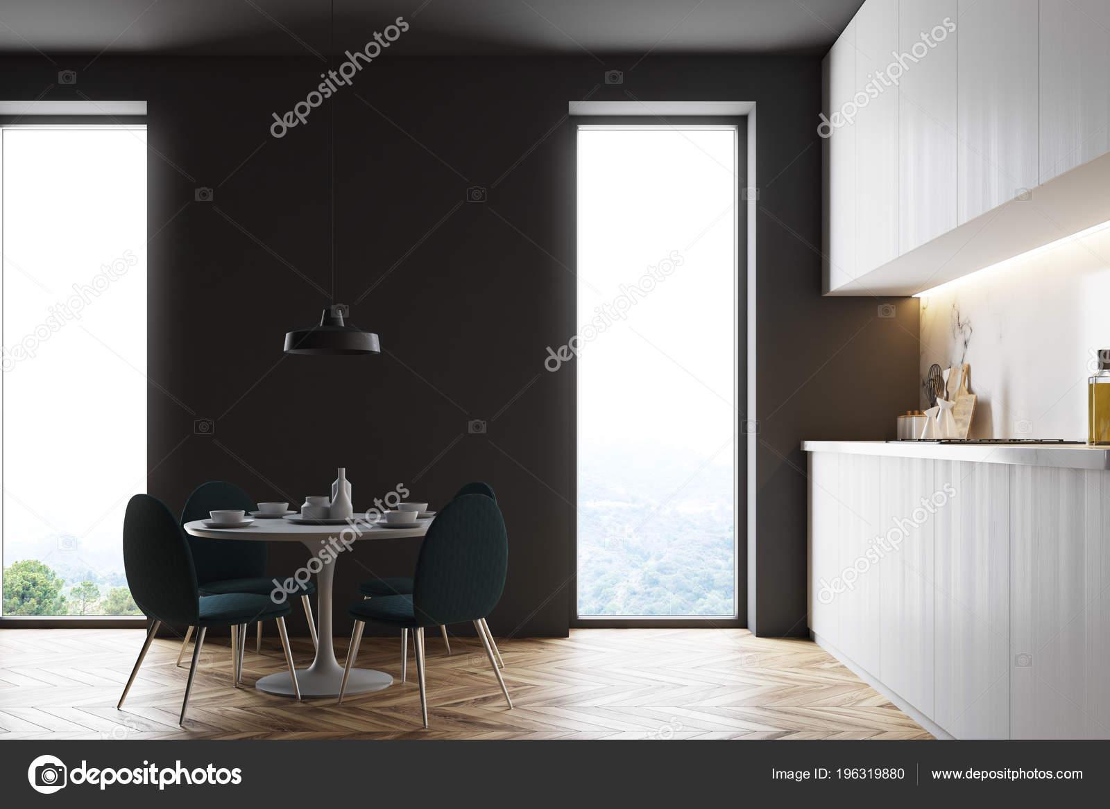 Wnętrza Kuchnia Loft Szary Białe Blaty Okrągły Drewniany