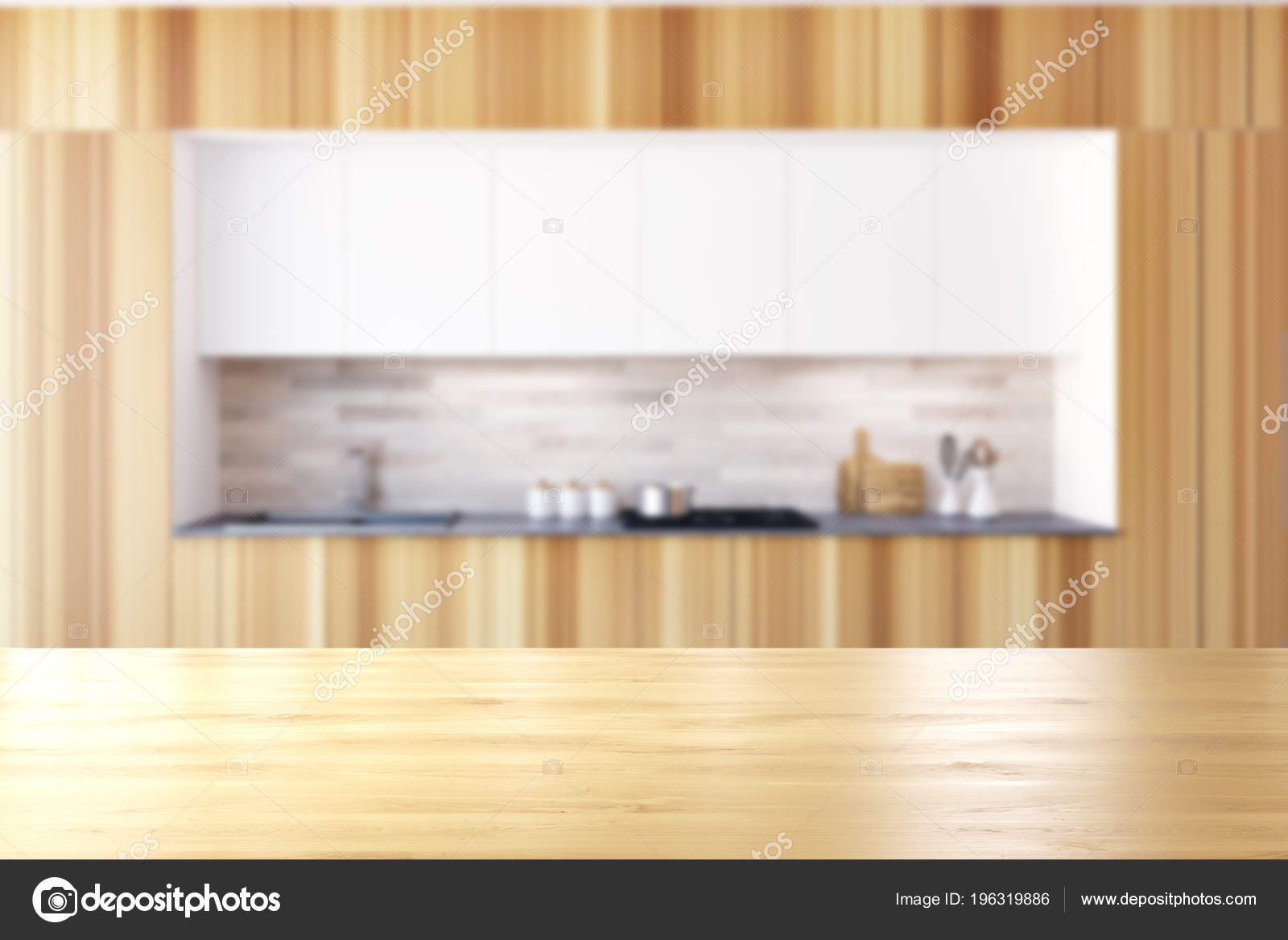 Interior Muebles Madera Cocina Con Mesada Construido ...