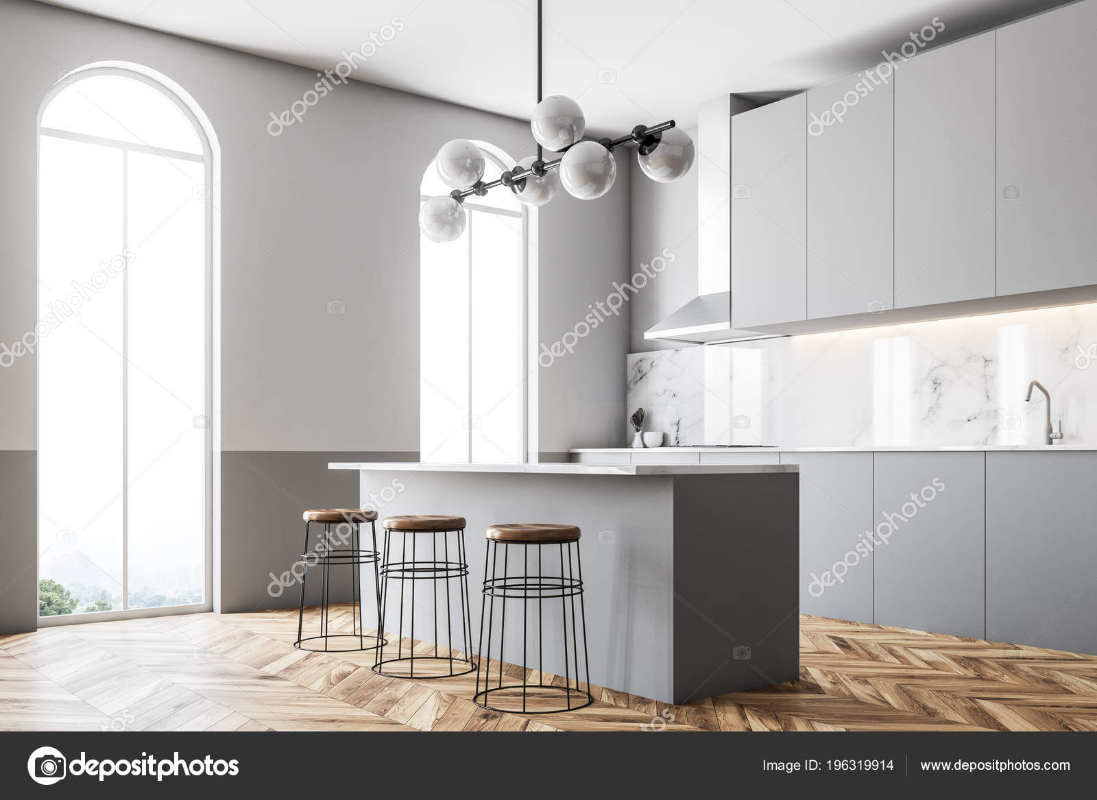 Astonishing Gray Wall Kitchen Countertops Bar Stools Arched Windows Cozy Pdpeps Interior Chair Design Pdpepsorg