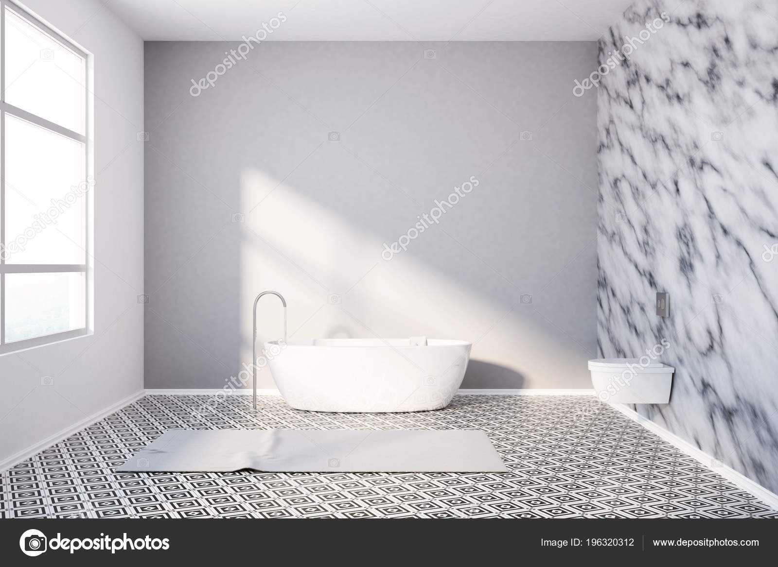 Interni lusso bagno con motivo geometrico piastrelle pavimento una