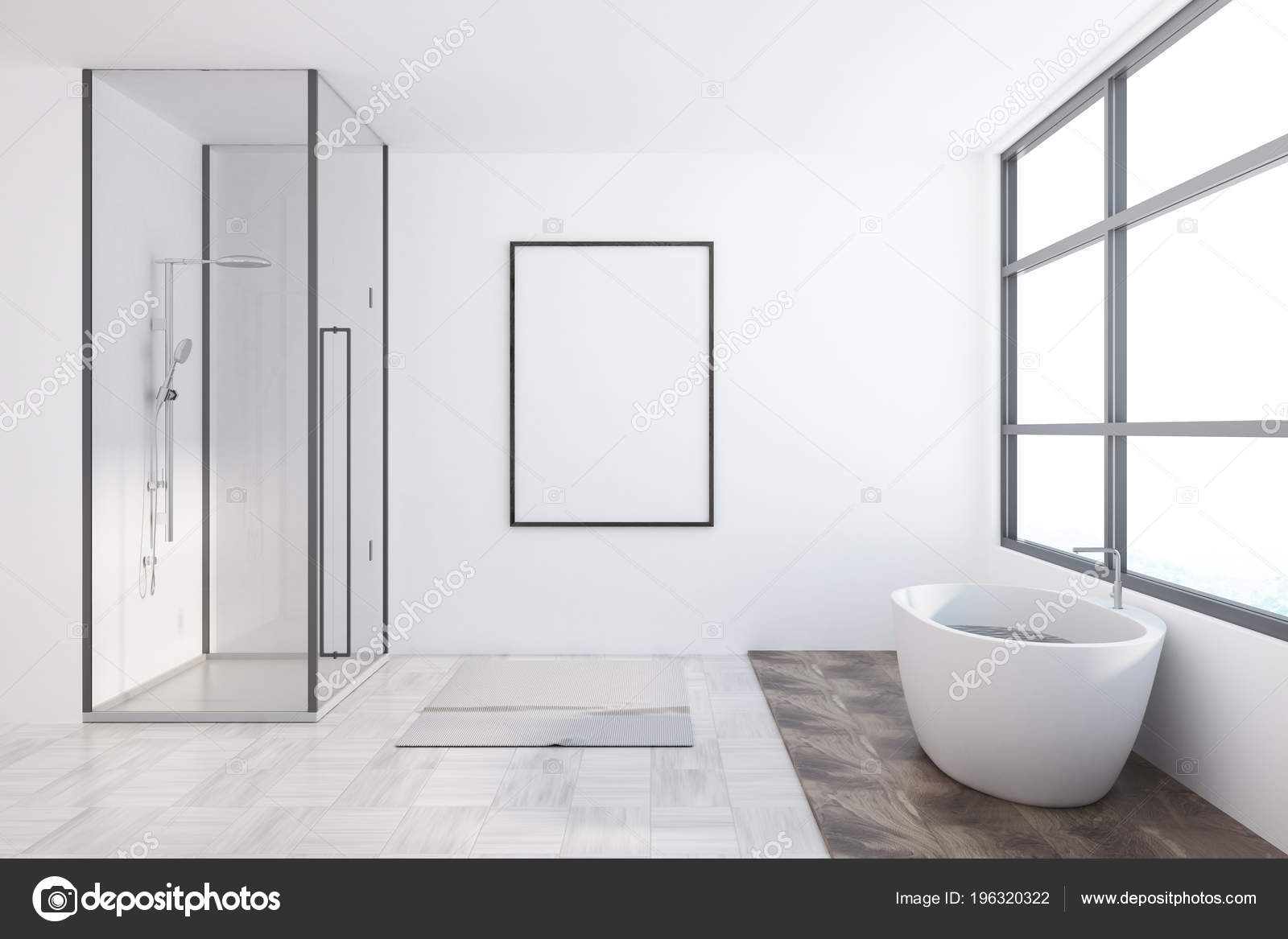 Asiatischen Stil Badezimmer Interieur Mit Einem Weißen ...