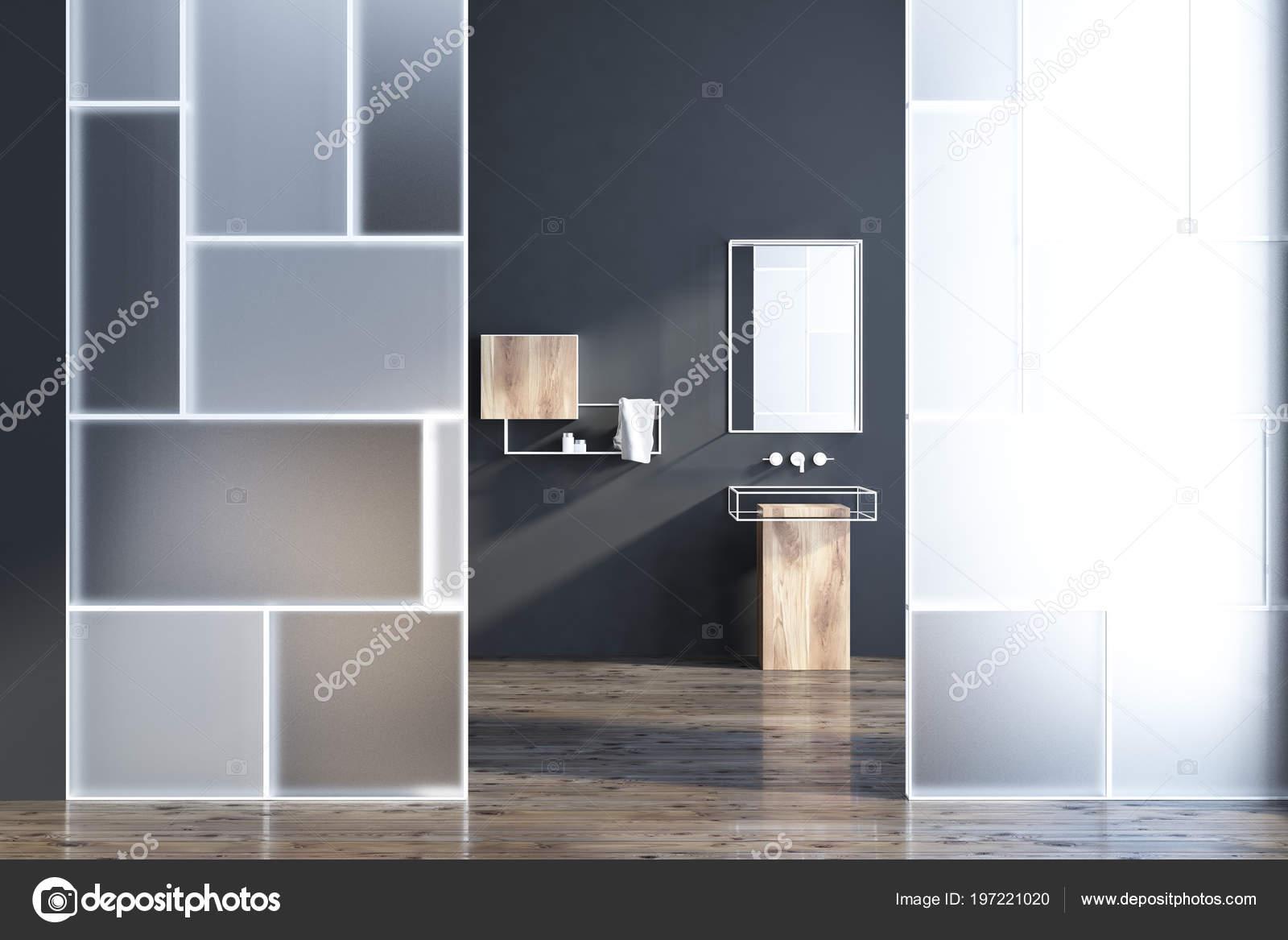 Int Rieur Salle Bain Futuriste Avec Des Murs Noirs Verre Vier