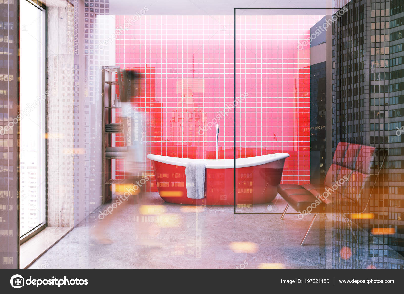 Red Tiled Bathroom Interior Red Bathtub Large Window Shelves Bench Stock Photo C Denisismagilov 197221180