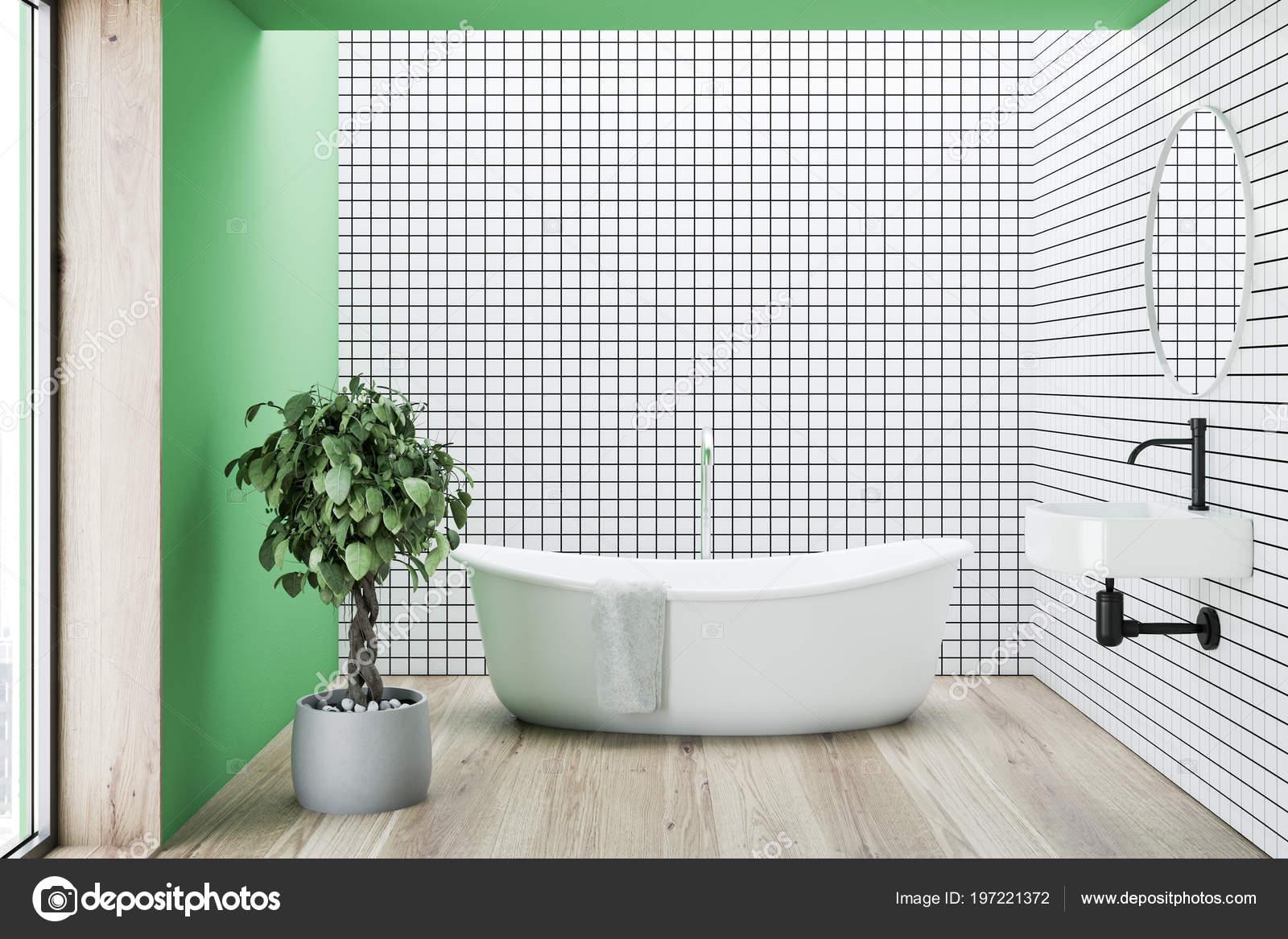 Intérieur Salle Bains Carrelée Vert Blanc Avec Plancher Béton Une ...