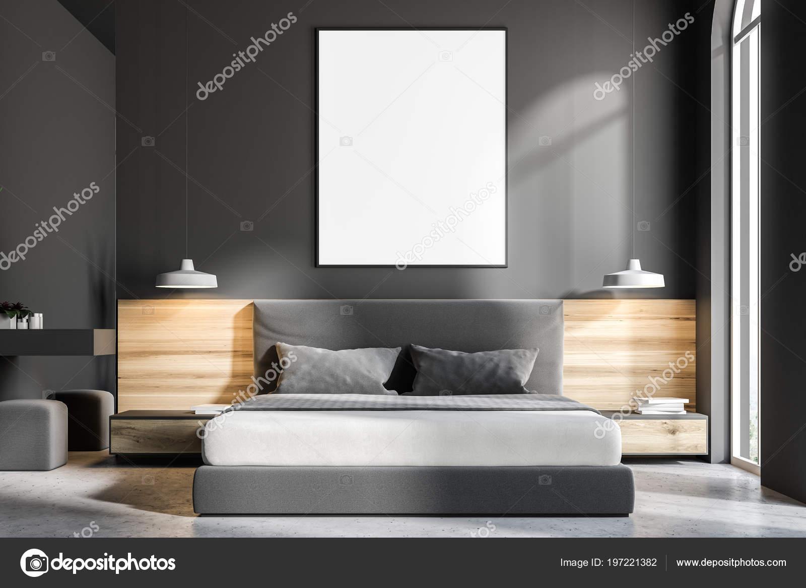 intrieur chambre coucher grise avec sol bton lit king size photo