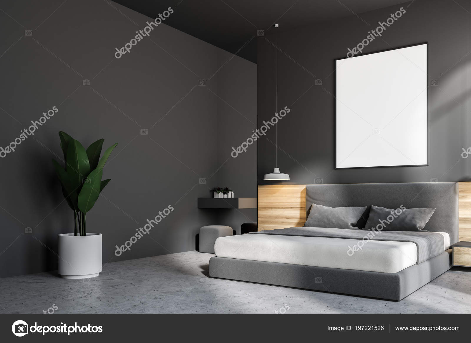 Slaapkamer Interieur Grijs : Donker grijze slaapkamer interieur met een betonnen vloer een king