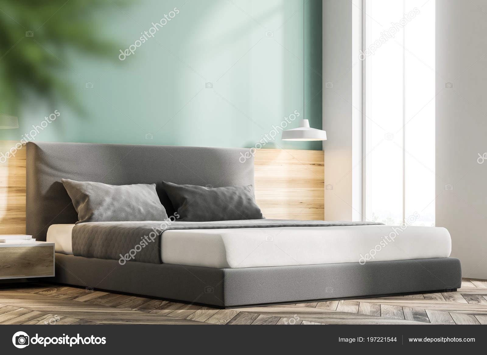 Holzfußboden Schlafzimmer ~ Modernes graues schlafzimmer mit holzboden vorderansicht