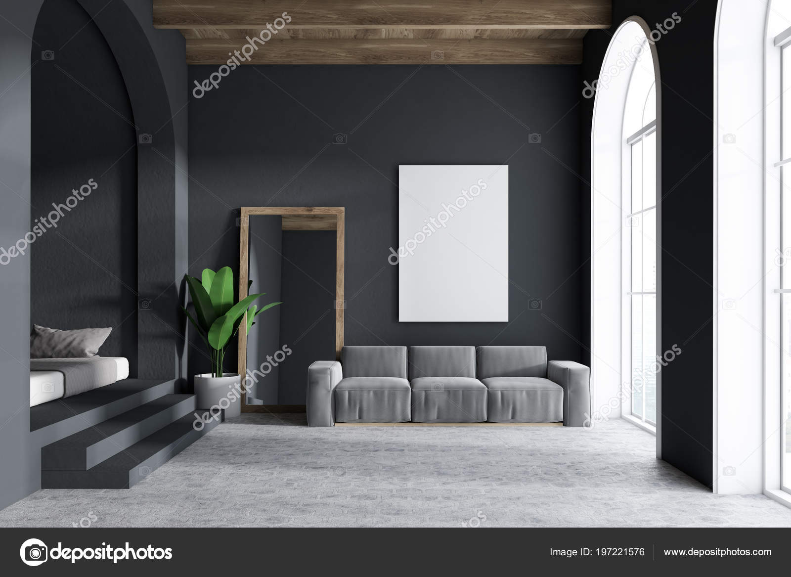 Graue Sofa Wohnzimmer Einrichtung Mit Dunklen Grauen Wänden ...