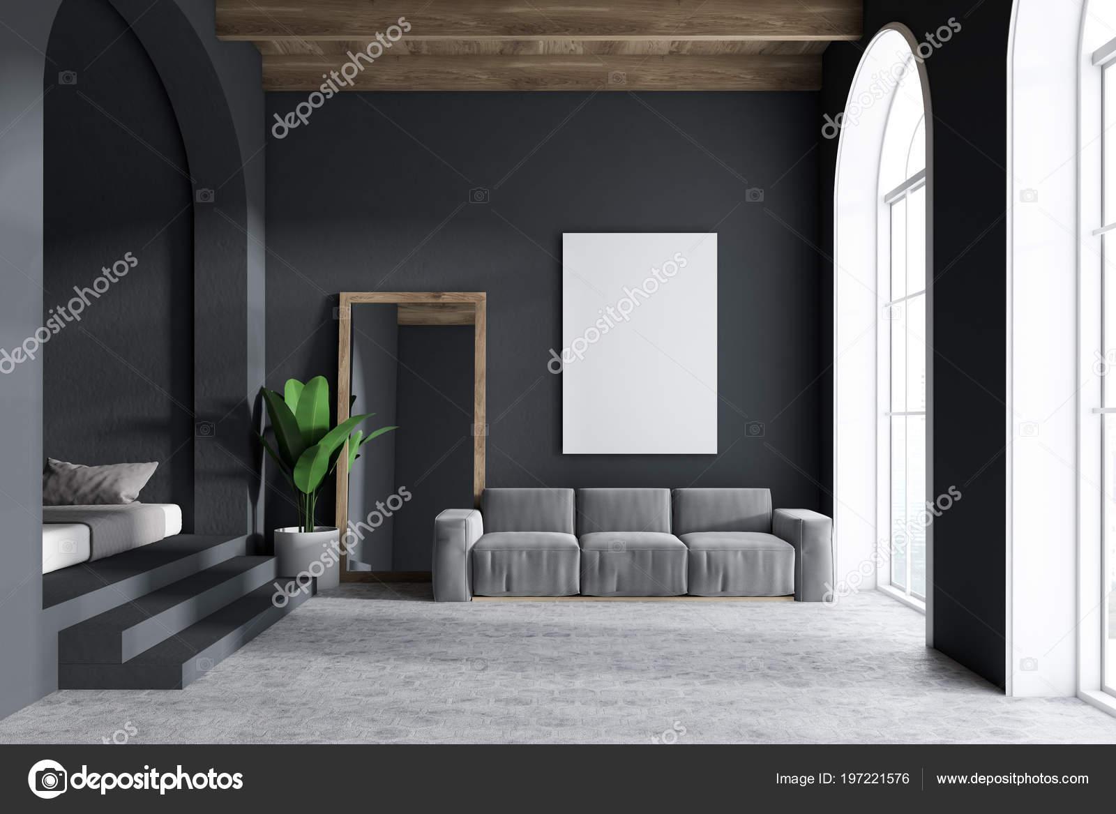 Gray Sofa Living Room Interior Dark Gray Walls Arched