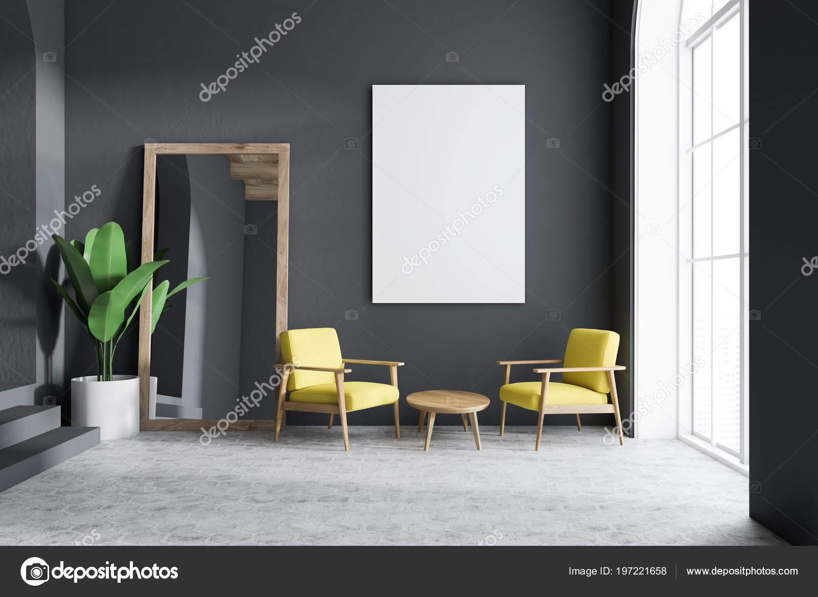 Gelber Sessel Wohnzimmer Einrichtung Mit Dunklen Grauen Wanden Loft