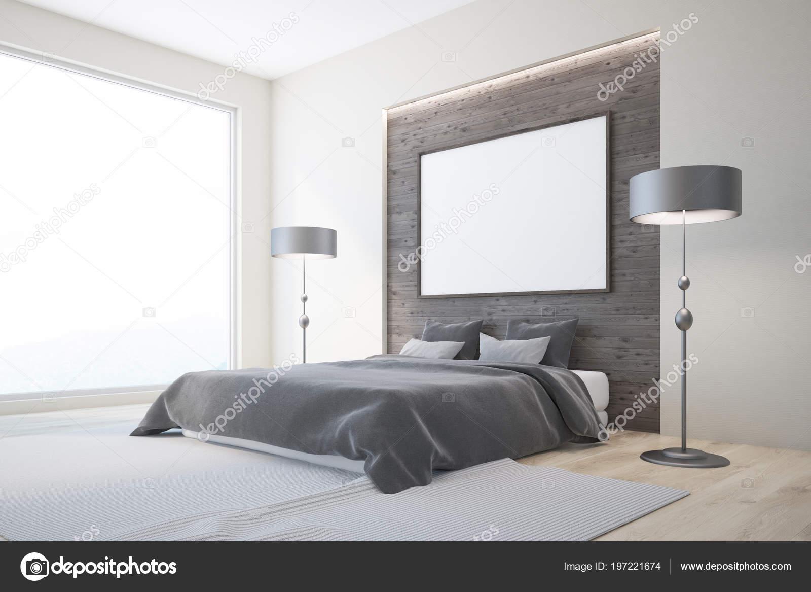 Slaapkamer Houten Vloer : Witte houten slaapkamer interieur met een houten vloer