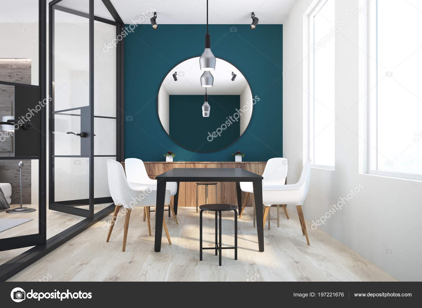 Tavolo Nero Sedie Bianche.Verde Scuro Bianco Muro Interiore Sala Pranzo Con Tavolo Nero Foto
