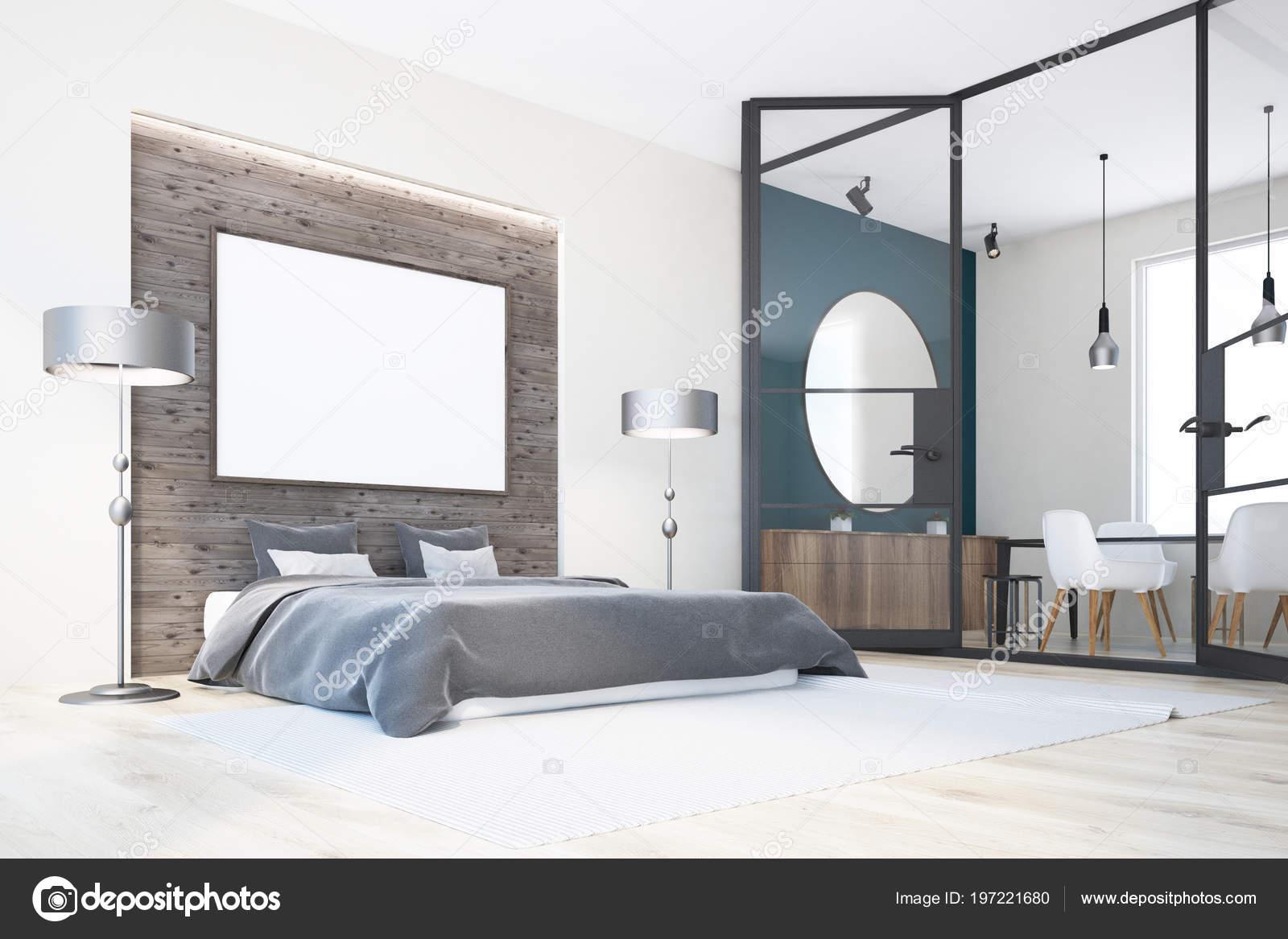 Houten Vloer Slaapkamer : Witte houten slaapkamer interieur met een houten vloer panoramische