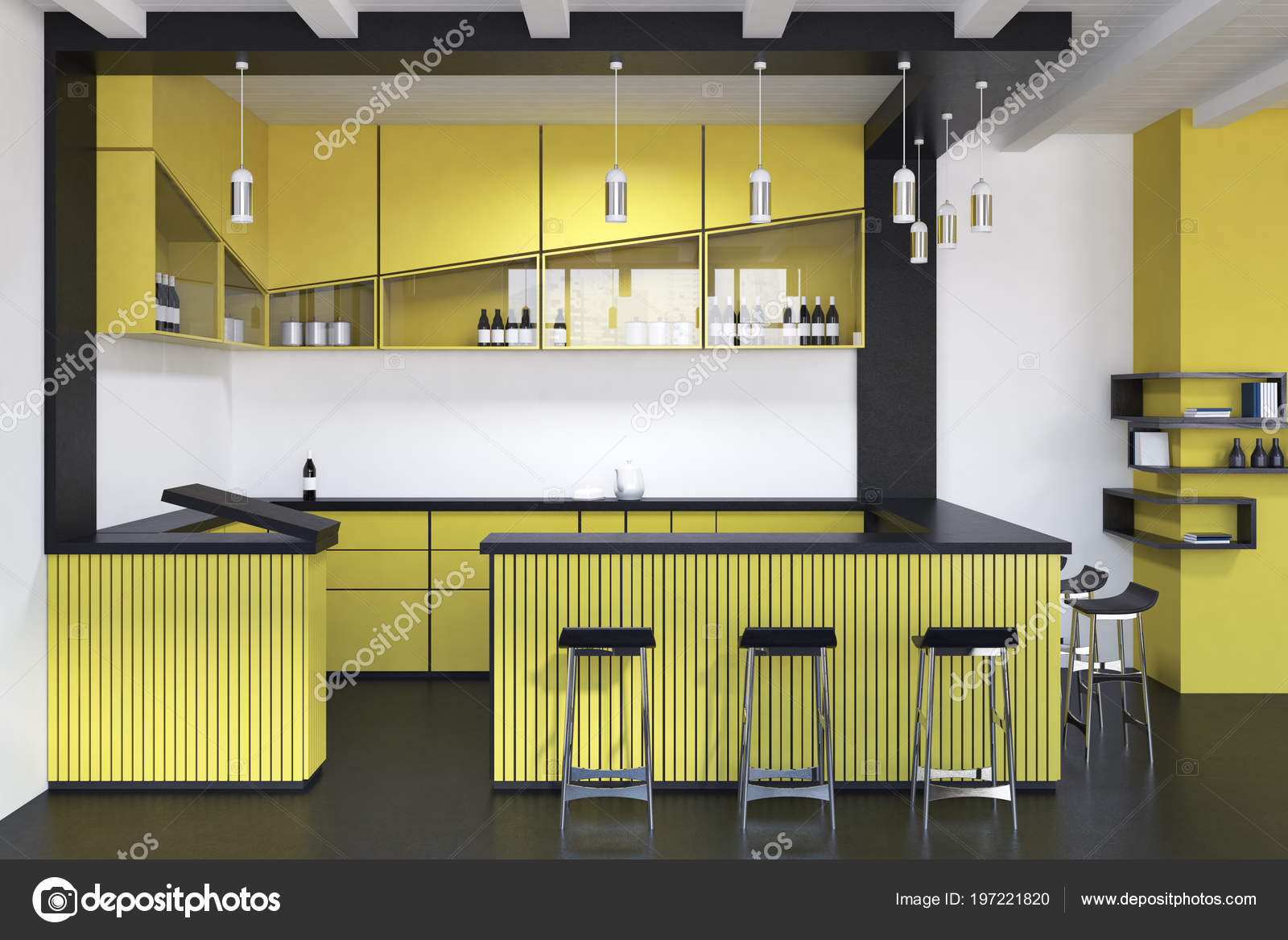 Interiore del pub moderno giallo con bar una fila sgabelli u foto