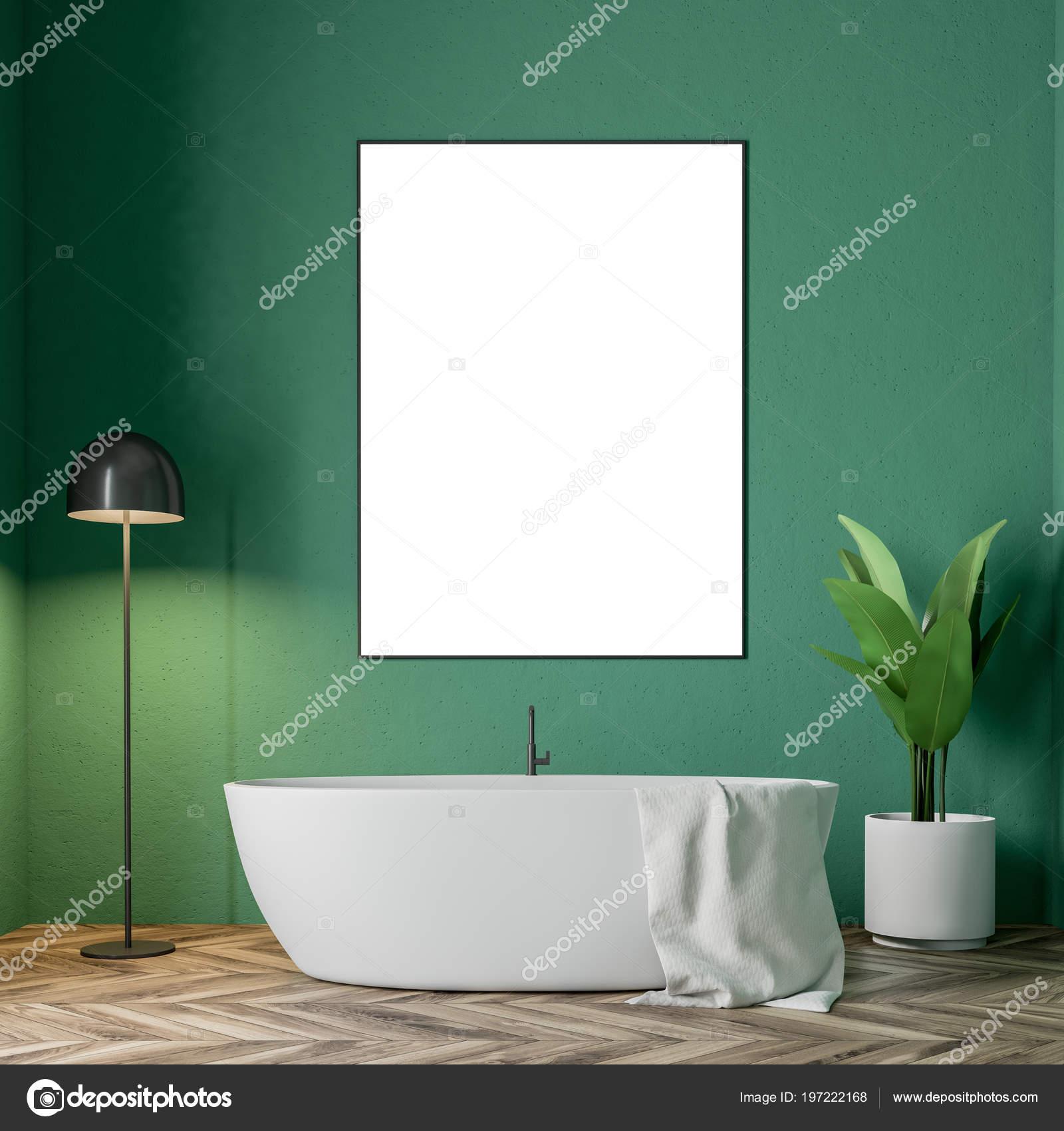 Minimalistic Green Bathroom Interior White Bathtub Towel Hanging ...