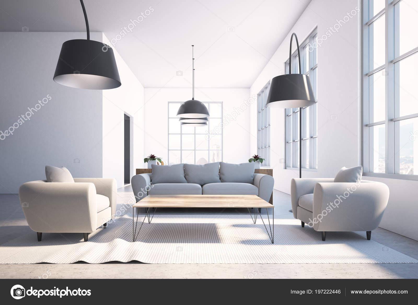 Luxus Graue Sofas Stehen Auf Einem Platz Einem Skandinavischen Stil ...