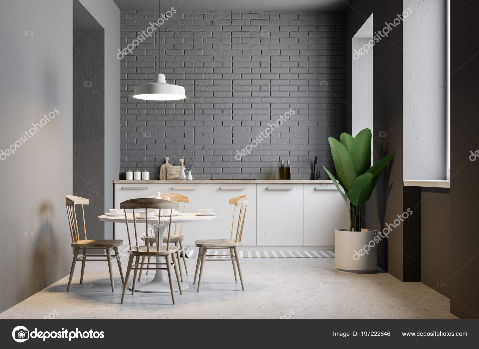 Kleine Graue Gemauerte Kuche Und Esszimmer Interieur Mit Einem