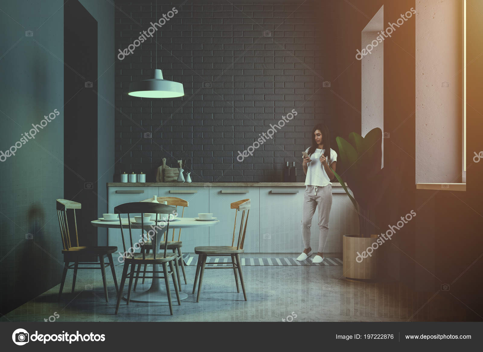 Comedor Teléfono Con Mesada Ladrillo Mujer Gris Una Cocina OkZPXiTu