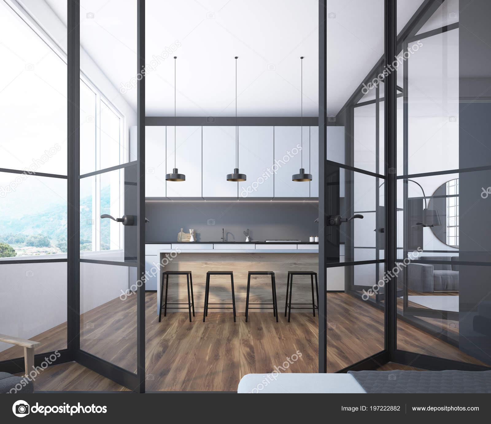 Superb Gray Kitchen Interior White Countertops Bar Stools Row Inzonedesignstudio Interior Chair Design Inzonedesignstudiocom