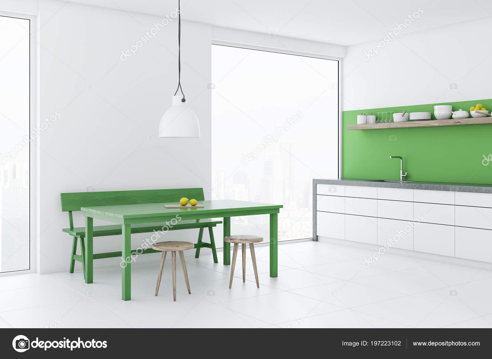 белой столовой кухонный уголок чердак Windows зеленый стол