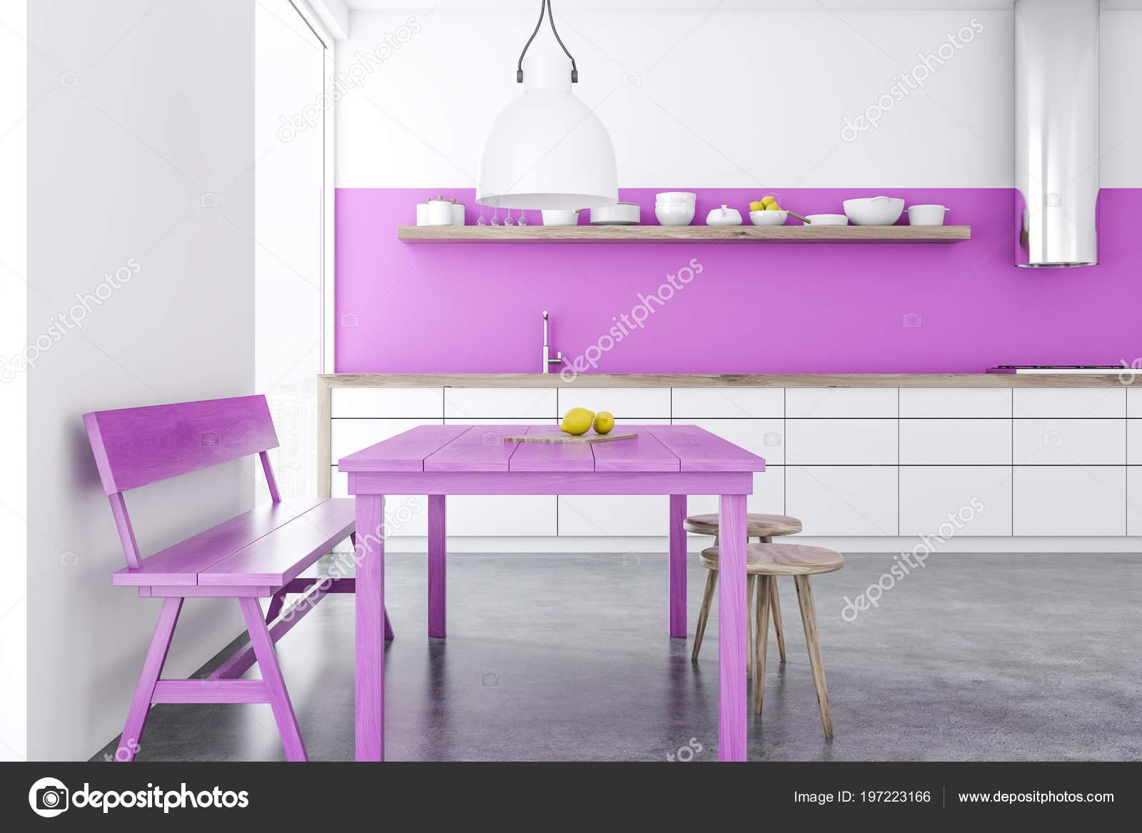 белая столовая кухня чердак Windows фиолетовый стол стулья