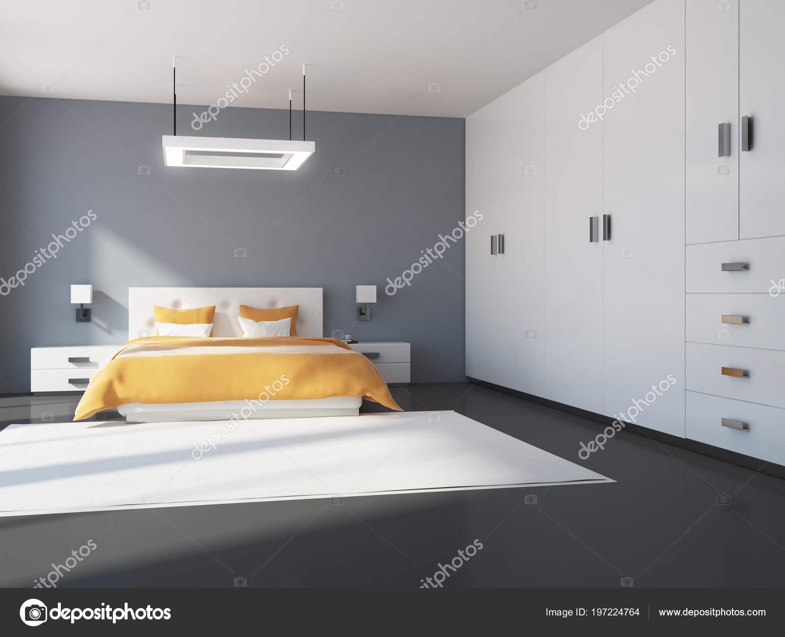 Intérieur Chambre Gris Blanc Avec Plancher Béton Grand Lit Une ...