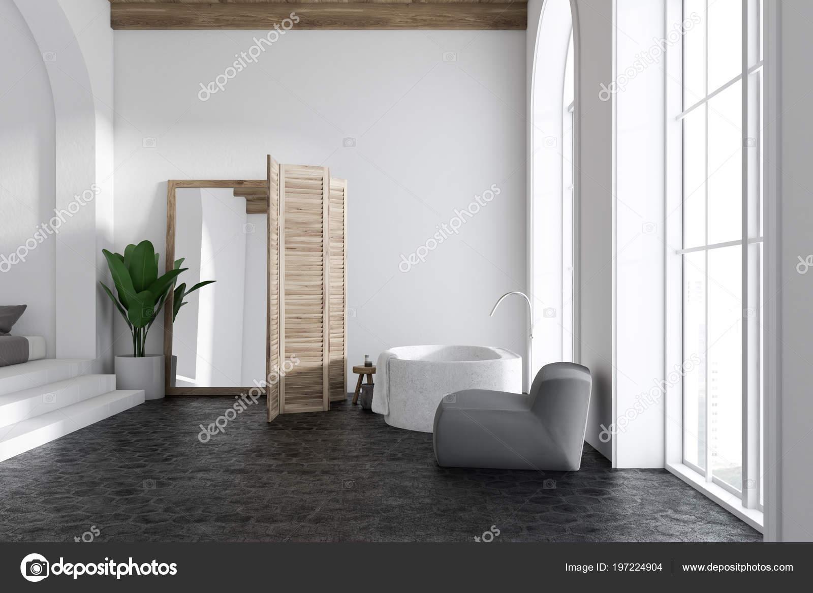 Vasca Da Bagno Verticale : Interiore stanza bagno lusso bianca con pavimento cemento una