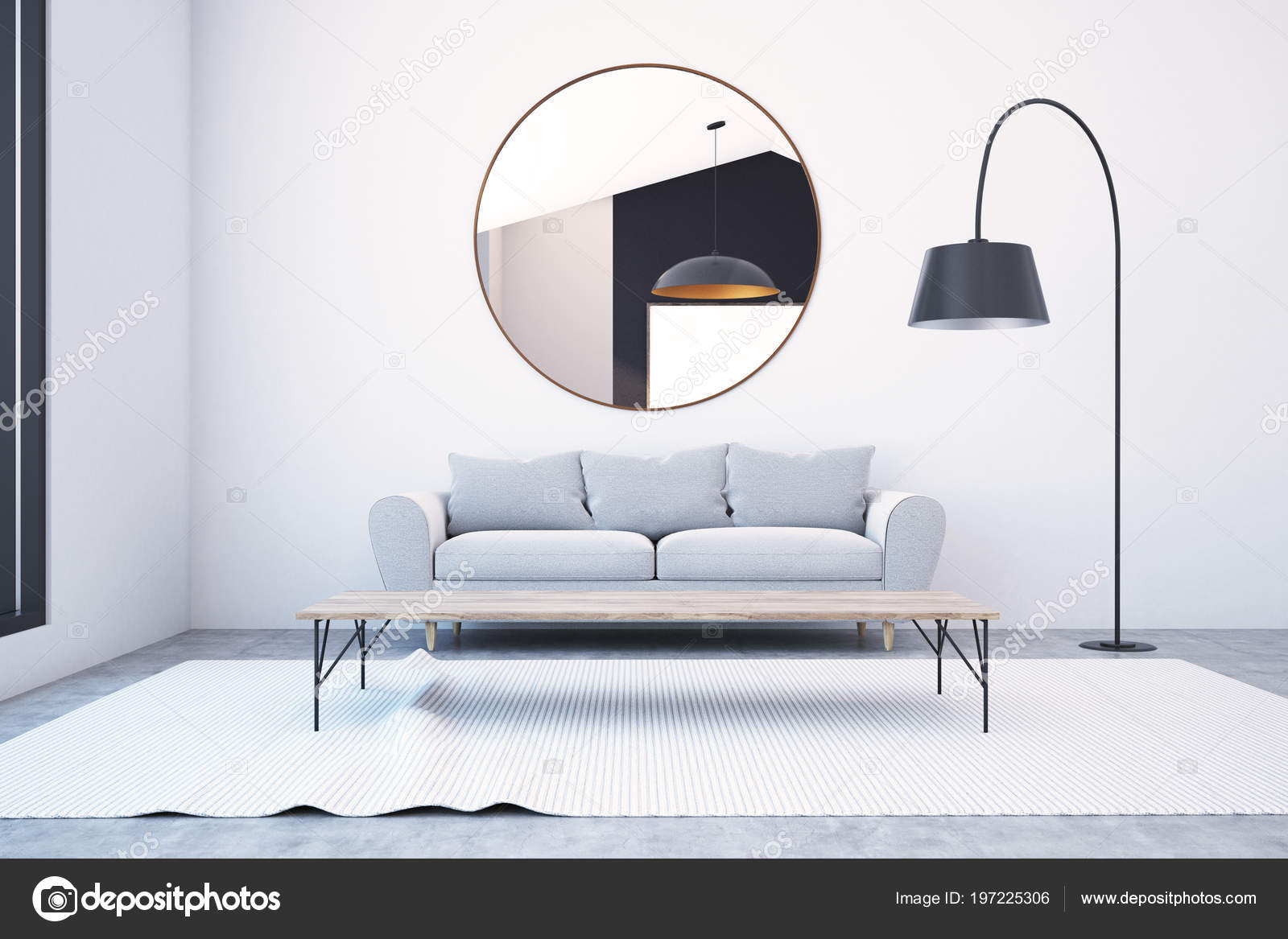 Graue Sofa Oben Stehend Spiegel Einem Auf Runder Eine Hängen 6ybf7g