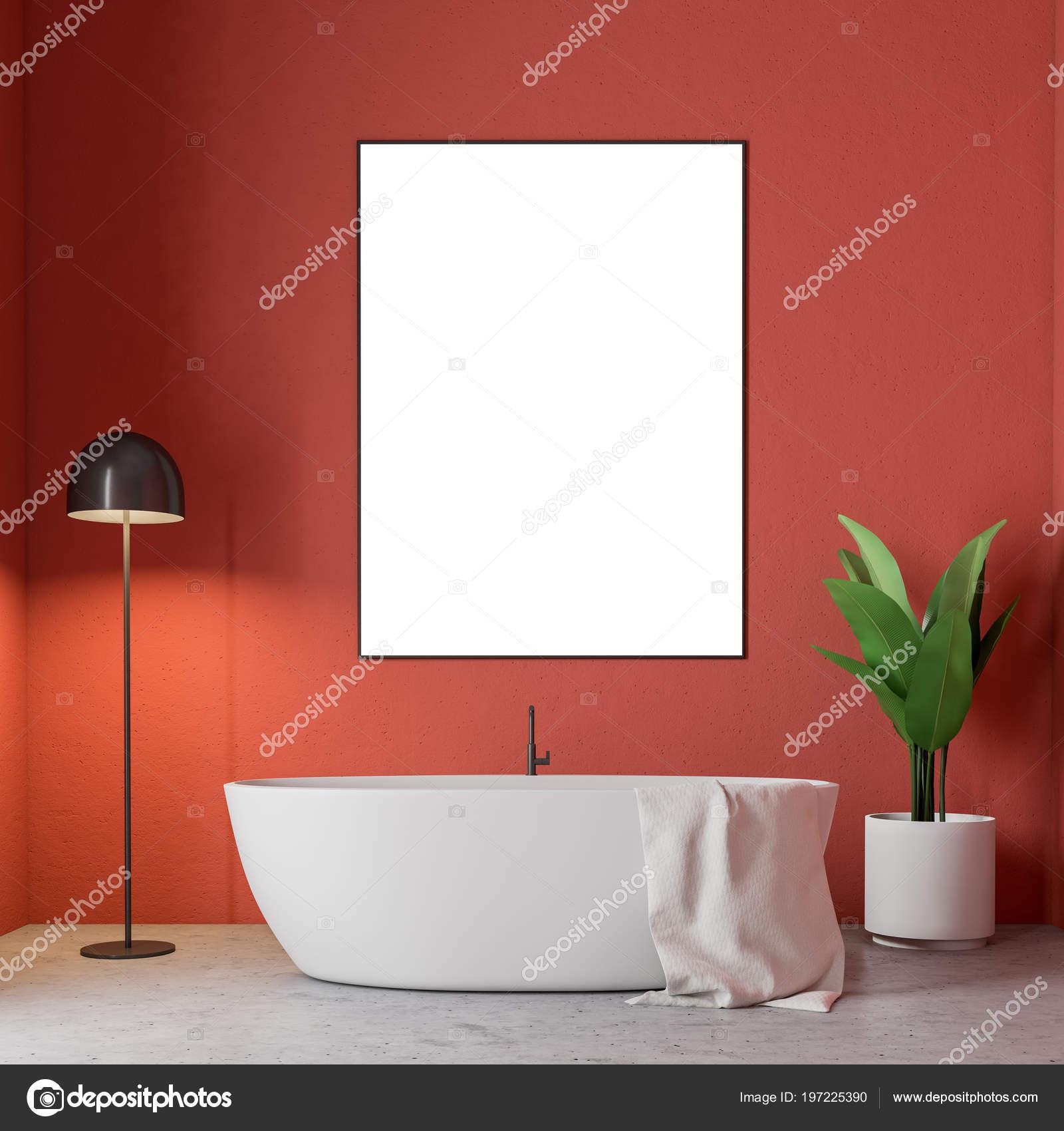 Intérieur Minimalistes Rouge Salle Bain Avec Une Baignoire Blanche ...