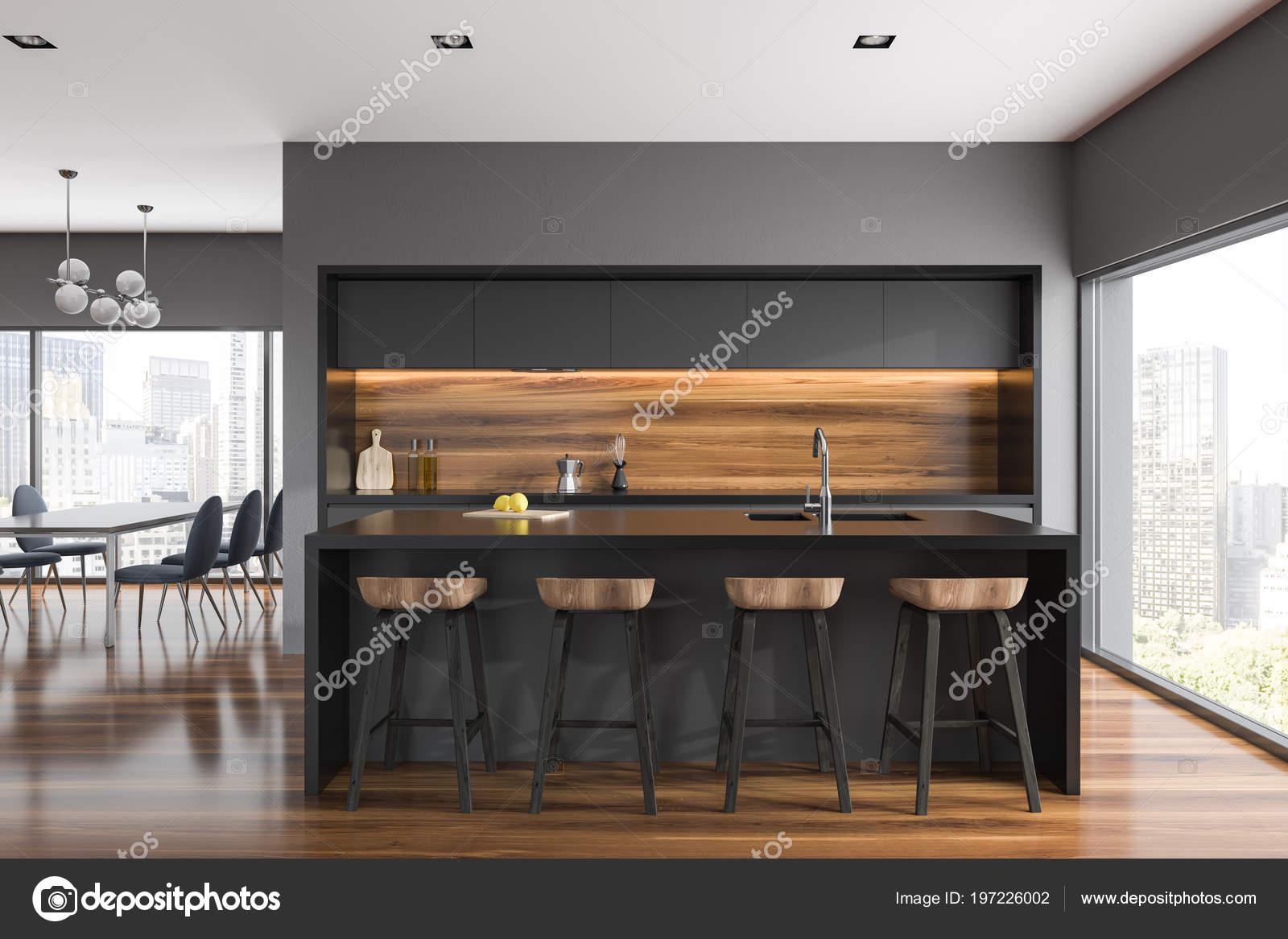 Keuken Bar Muur : Grijs houten muur keuken interieur met grijze aanrecht een bar