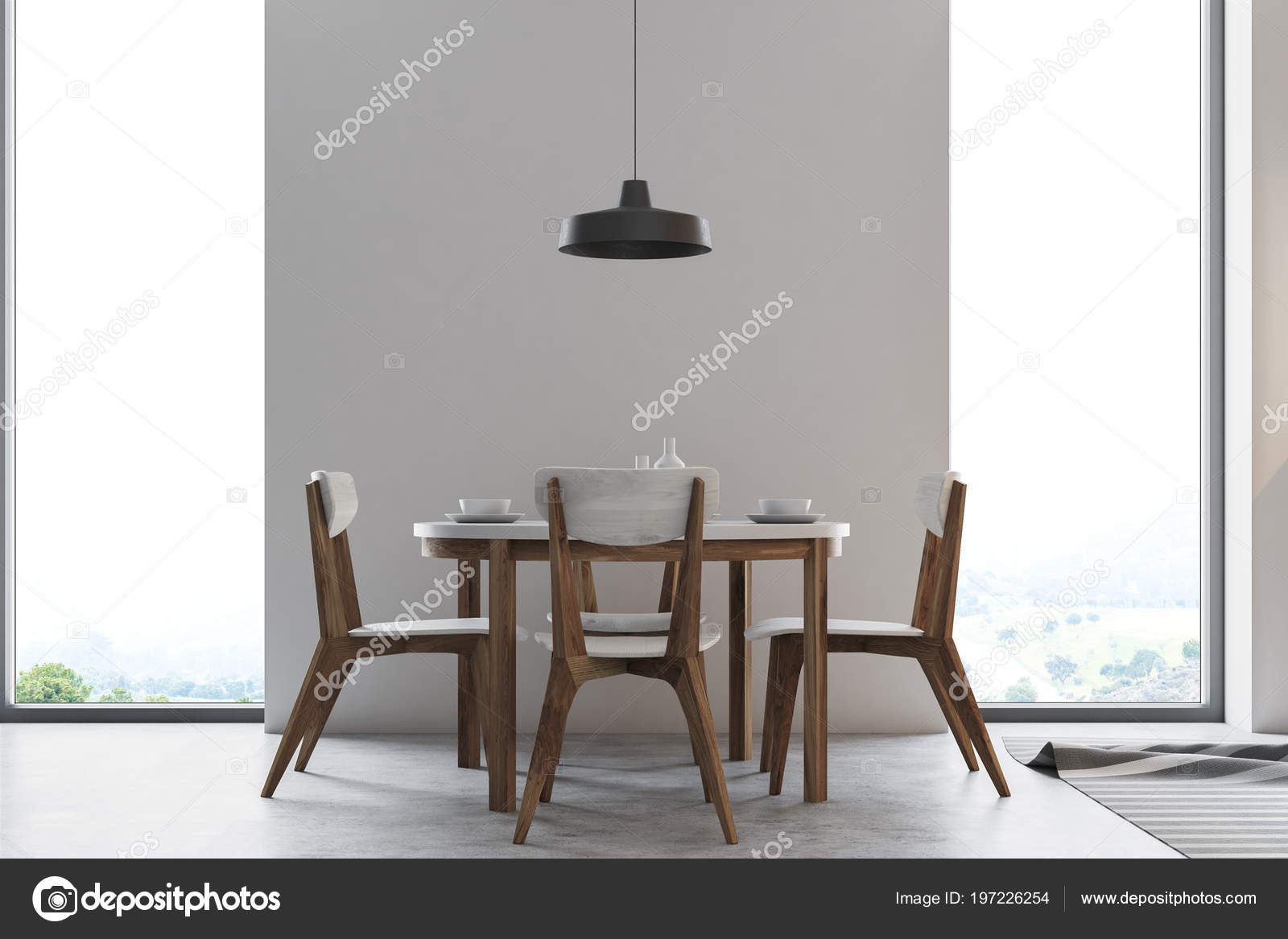 Table H Et H concrete wall dining room interior long wooden table loft