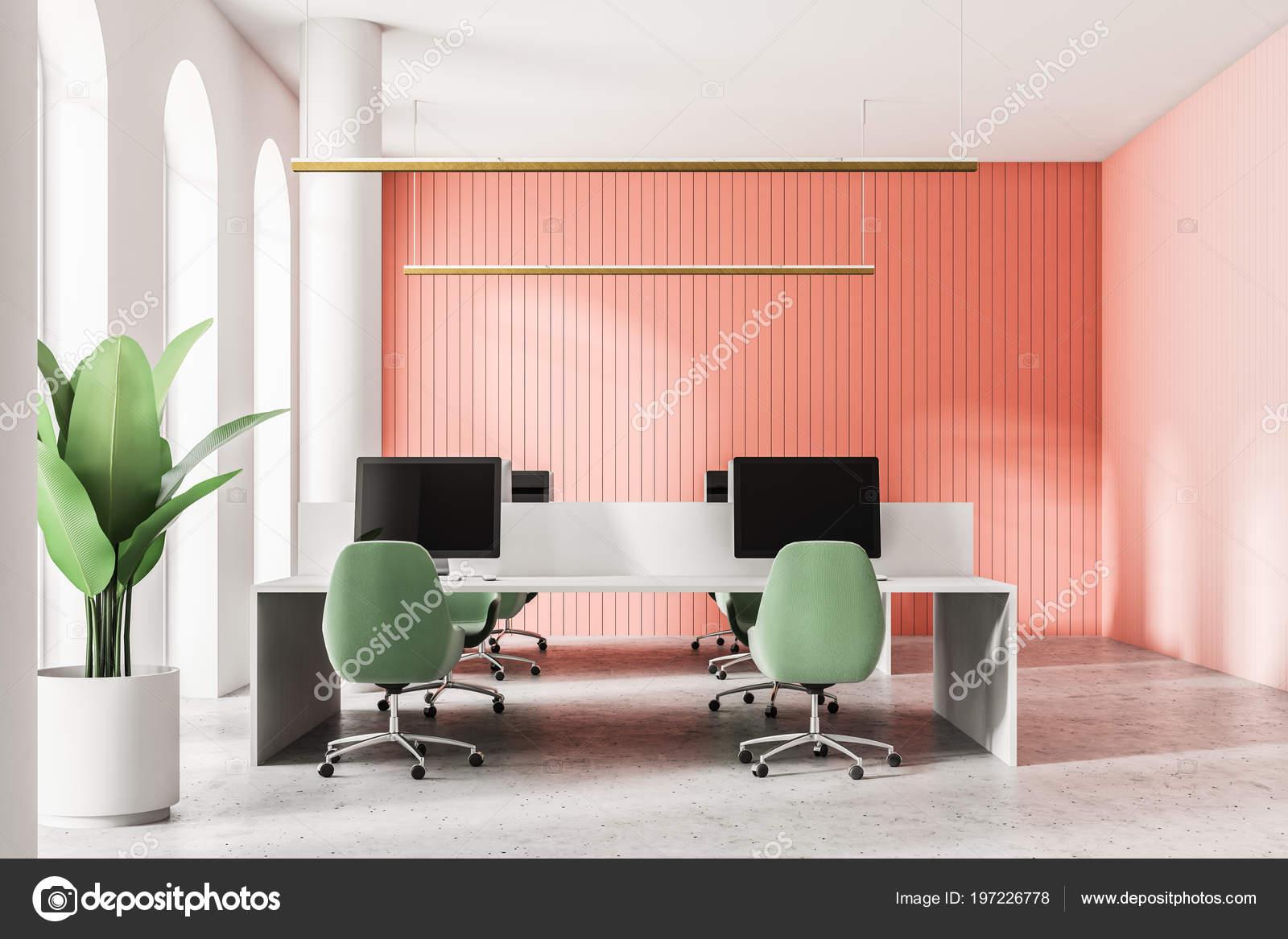 Pavimento Rosso E Bianco : Bianco rosso aprire spazio ufficio con pavimento cemento tavoli