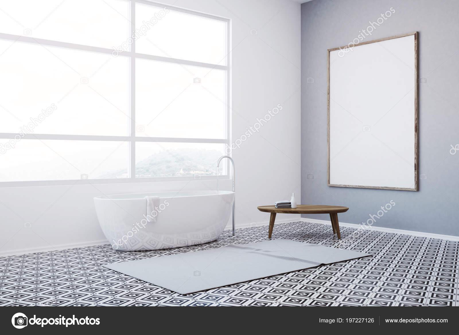 Angolo bagno stile asiatico con motivo geometrico piastrelle