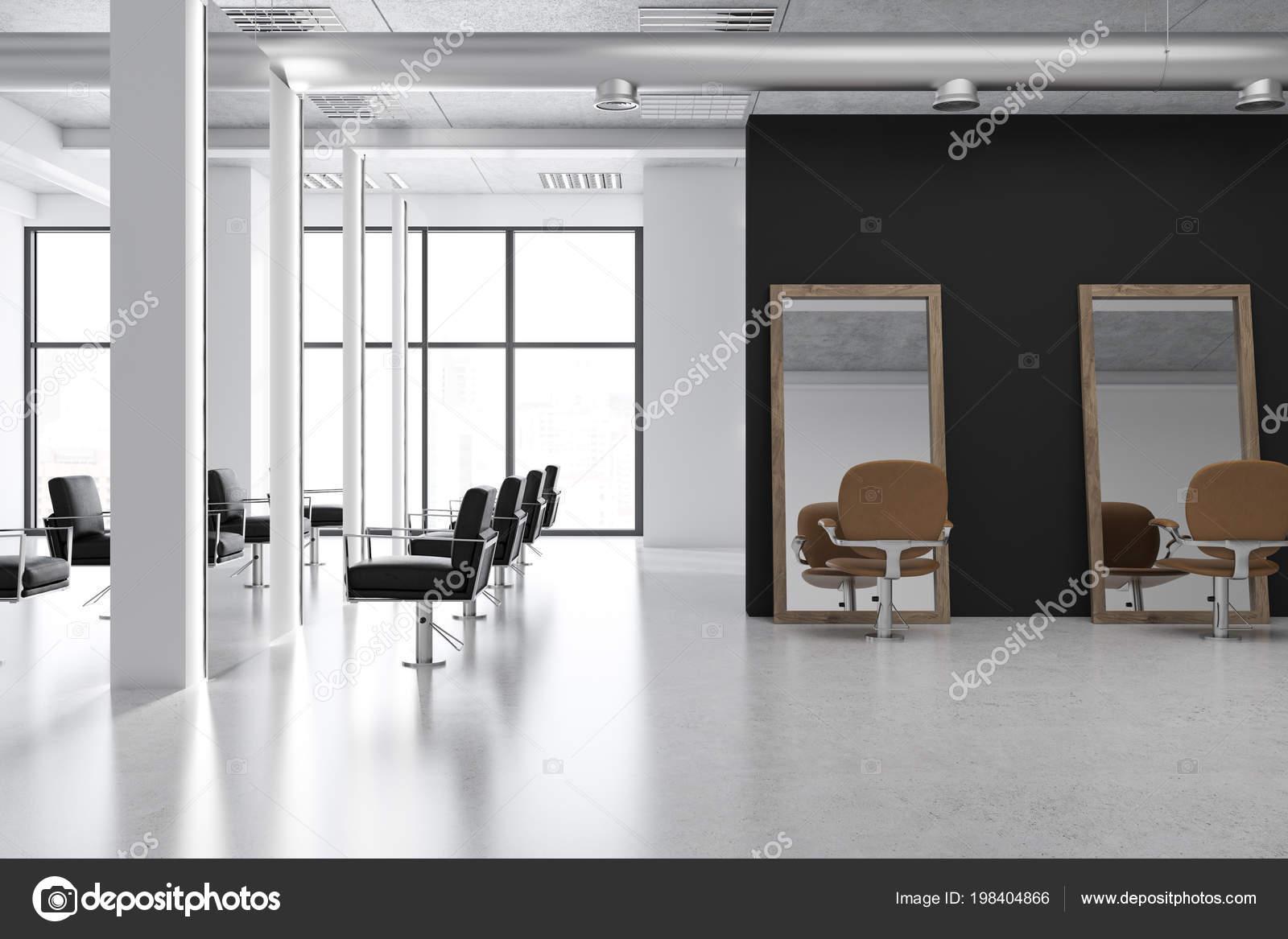 Intérieur Salon Coiffure Moderne Avec Sol Béton Grands Miroirs Des ...