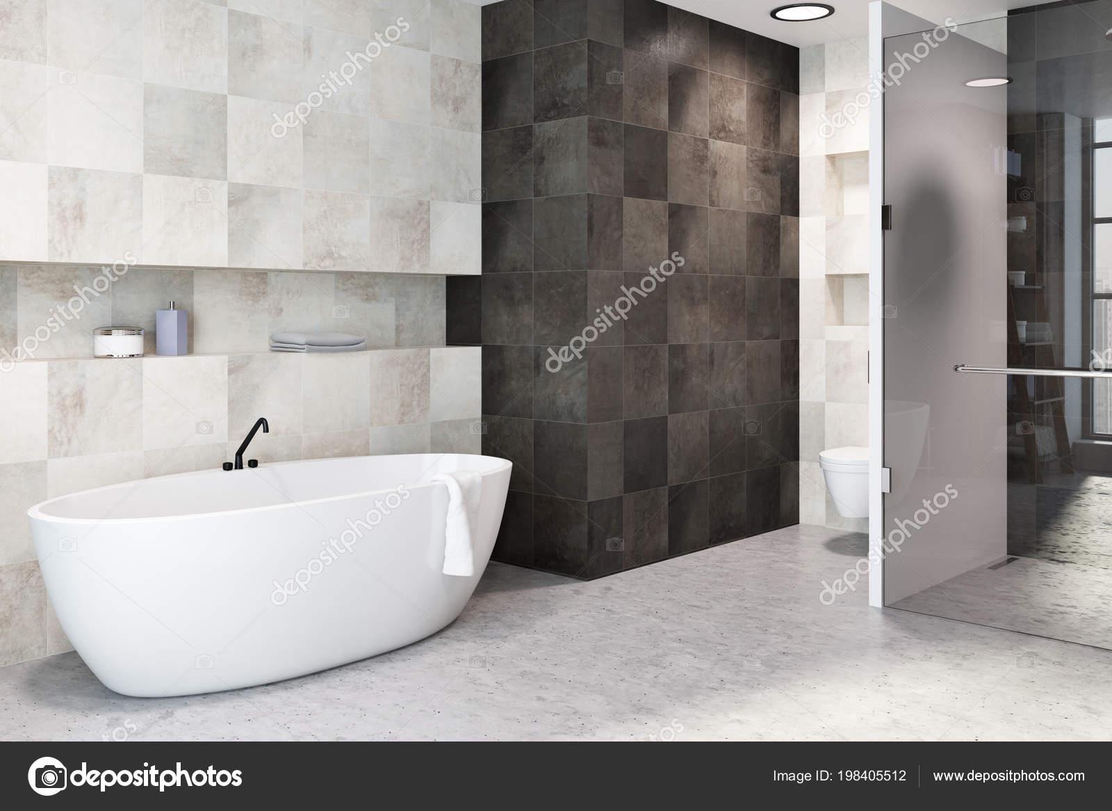 White Tiles Bathroom Interior Concrete Floor Large White Bathtub Toilet — Stock Photo