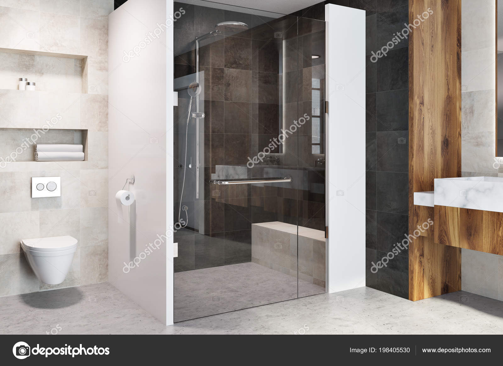 Glass Door Shower Stall Modern Bathroom Interior White